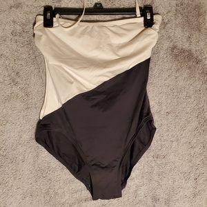 White and black bathing suit